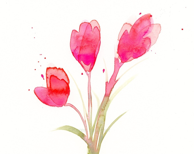 "Featured listing image: Watercolor flowers, original painting: ""In the Pink"""