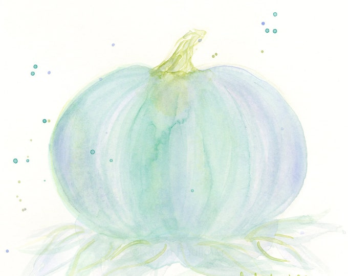 "Original watercolor painting, ""Pumpkin in the Mist"""
