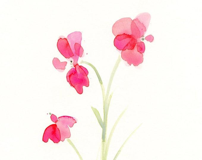 "Watercolor flower print: ""Rose Pink Trio"""