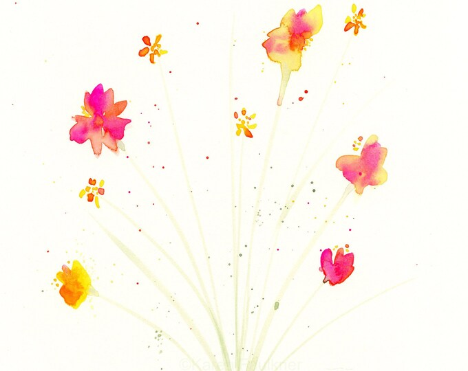 "Watercolor flowers, original painting of hot pink, orange, yellow flowers, ""Summer Spray"""