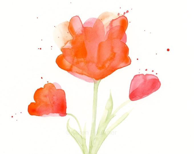 """Watercolor flowers, original painting of orange flowers, """"Tangerine Splash"""""""