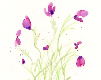 "Watercolor flowers, original painting, ""Violet Breeze"""
