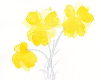 """Watercolor flowers, original painting: """"Sunburst Blossoms"""""""
