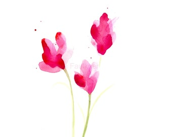 """Watercolor flower print: """"At First Blush"""""""