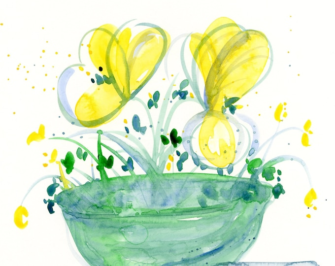 """Watercolor flowers, """"Bowl of Sunshine,"""" original painting in yellow, blue and teal"""