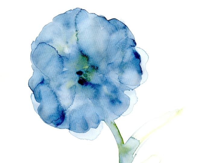 """Watercolor flower print: """"Blooming in Indigo"""""""