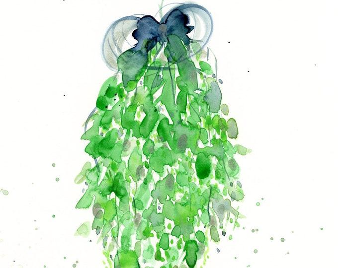 """Original watercolor greenery painting, """"Holiday Swag"""""""