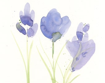 """Watercolor flowers, original painting, """"Rooted"""""""