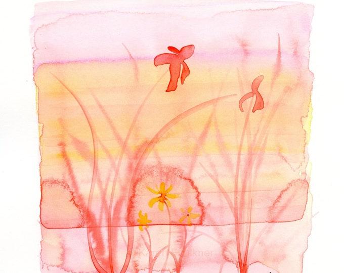 "Watercolor flowers, ""Sun Splash,"" orange, pink and yellow"