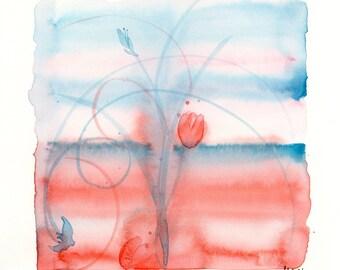 "Watercolor flowers, ""Coral Sunset"" original painting"