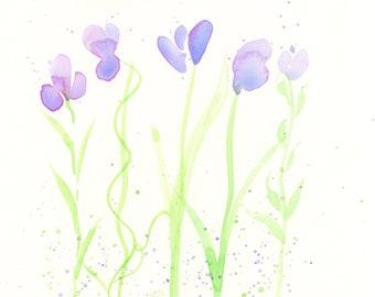 "Watercolor flowers, original painting, ""Periwinkle Shower"""