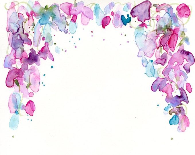 "Watercolor flowers, original painting, ""Arbor"""