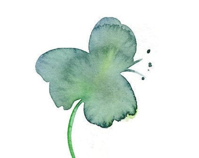 """Original watercolor flower painting, """"Teal Bloom"""""""