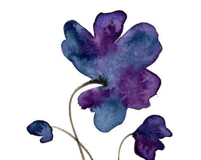 "Original watercolor flower painting, ""Indigo Violet 1"""
