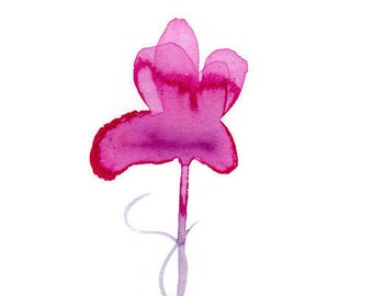"Original watercolor flower painting, ""Magenta Orchid"""