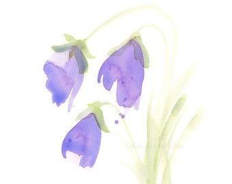 """Watercolor flower print: """"Bellflowers"""""""