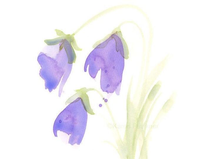 """Watercolor print of light purple flowers, """"Bellflowers"""""""