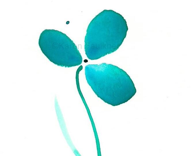 "Art print of simple teal watercolor flower: ""Tranquility Flower"""