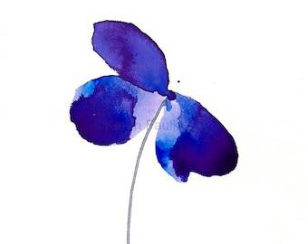 "Watercolor flower art print: ""Blue Violet Beauty"""