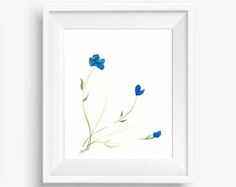 "Original floral watercolor painting: ""Azure Blooms"""