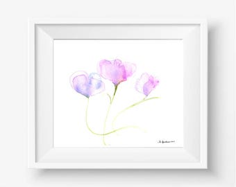 """Original floral watercolor painting: """"Trio of Blossoms"""""""