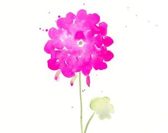 """Original watercolor flower painting: """"Hot Pink Geranium"""""""