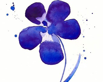 "Watercolor print of a purple flower: ""My Deep Purple Dream"""