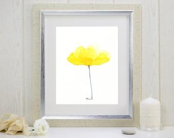 "Watercolor flower art print of yellow flower: ""Luminous Buttercup"""