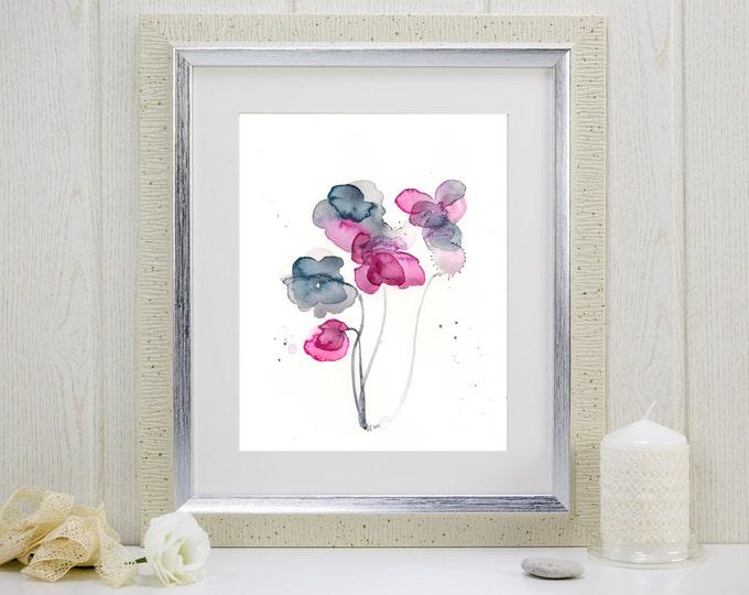 """Watercolor flower print: """"Frozen in Time"""""""