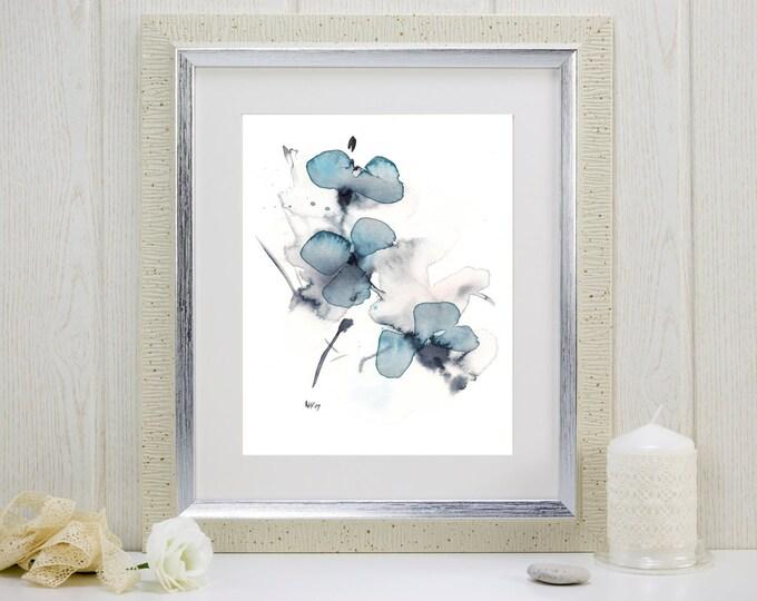 "Watercolor flower print: ""Indigo Blossoms"""