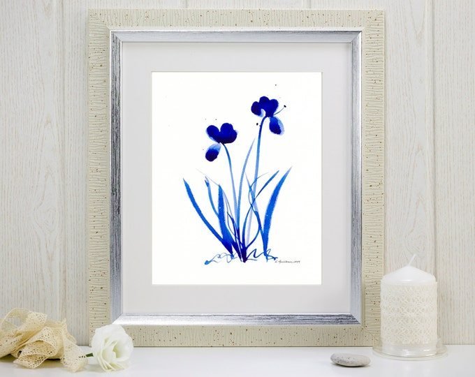 "Cobalt blue watercolor print: ""Saturated Blue Flowers"""
