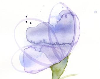 """Original watercolor flower painting: """"Lavender Loops"""""""