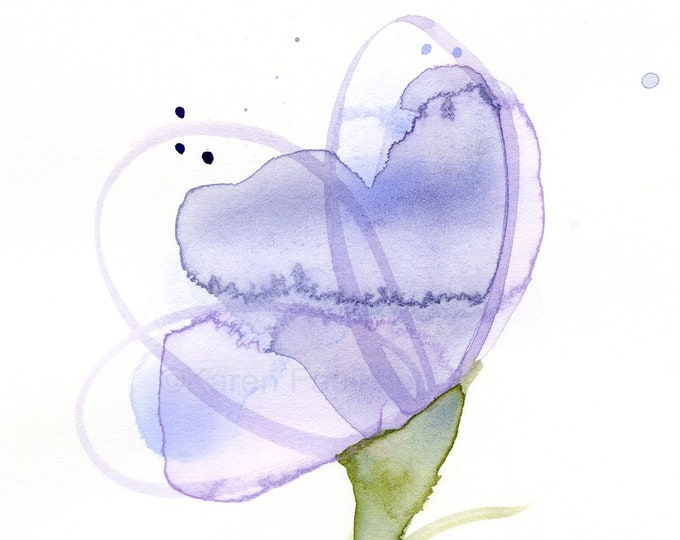 "Original watercolor flower painting: ""Lavender Loops"""