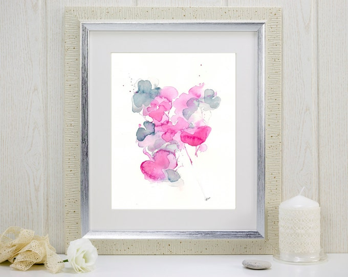 "Watercolor flower print: ""I Gathered My Love"""