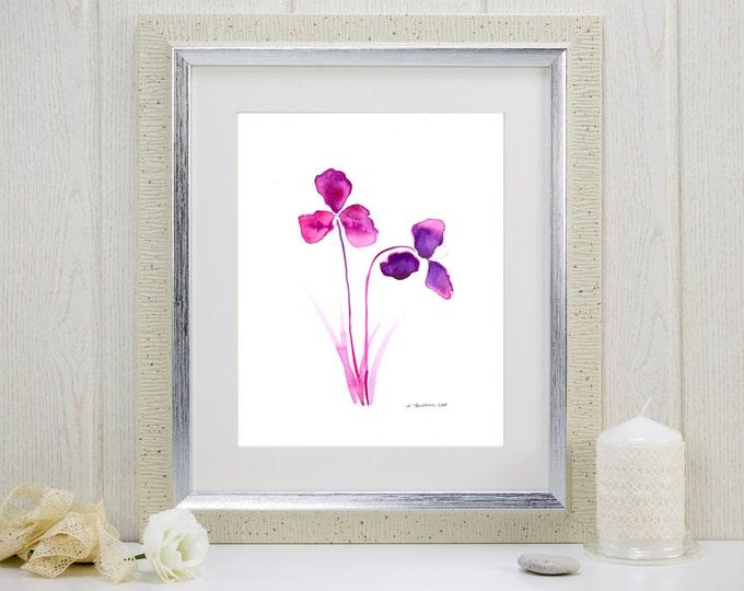 """Watercolor art print: """"Purple Orchids"""""""