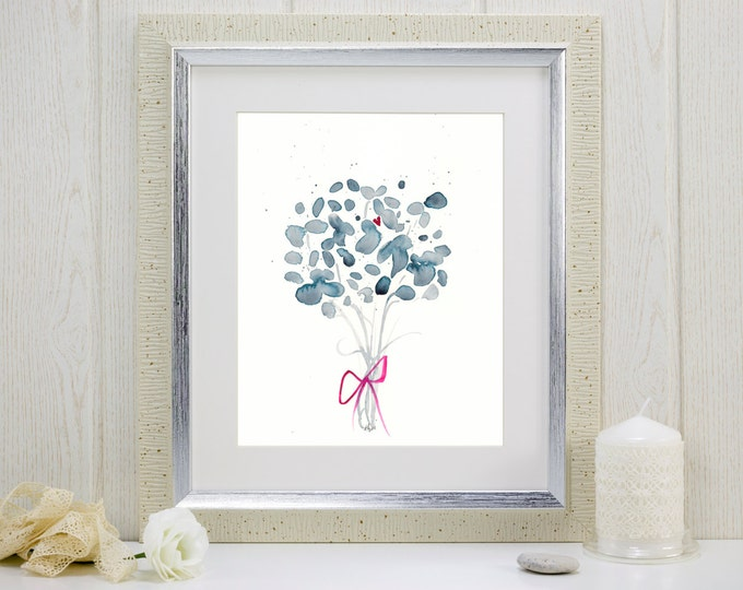 "Indigo watercolor flowers art print: ""For You"""