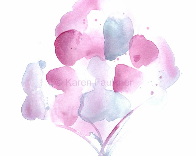"Original watercolor painting of abstract flowers: ""Misty Bouquet"""