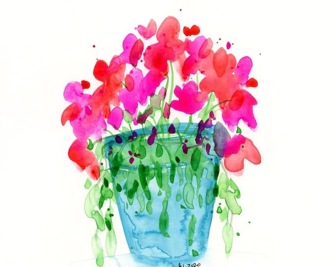 """Watercolor flower print, """"Color Pop"""""""