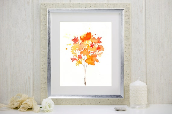 "Watercolor flowers art print, orange and yellow: ""Bouquet of Sunshine"""