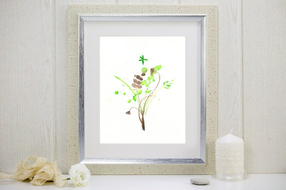 "Watercolor art print in pale green and brown: ""Field Flowers"""