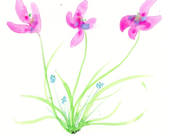 """Watercolor flowers, original painting, """"Pink Orchids"""""""