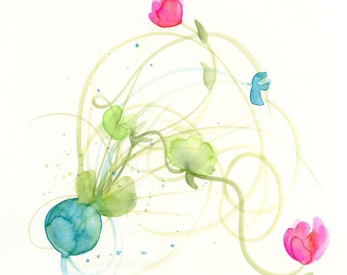 "Watercolor flowers, original painting, ""Free Flow Floral"""
