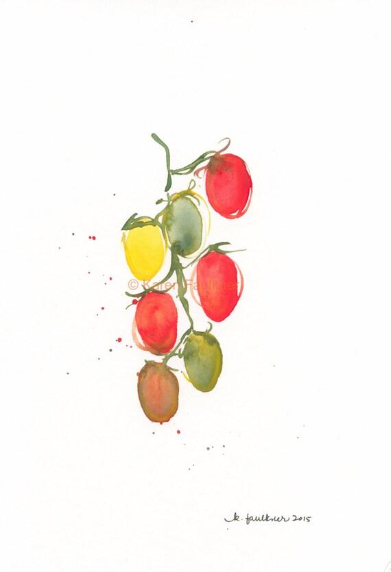 "Original watercolor painting of grape tomatoes: ""Tomato Vine"""