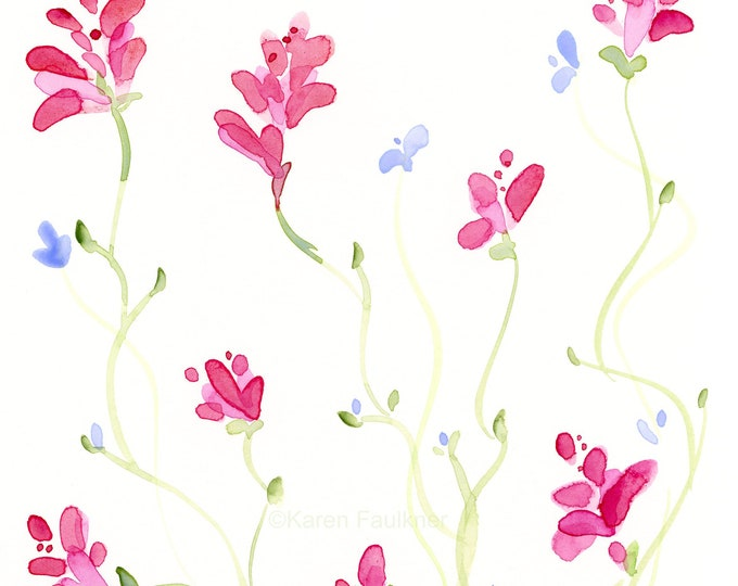 """Watercolor flowers, original painting of pink and lavender flowers, """"Floral Vine"""""""