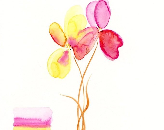 """Watercolor flowers, original painting, """"Raspberry and Lemon Orchids"""""""