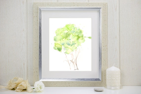 "Art print of pale green watercolor flowers: ""Woodland Bouquet"""