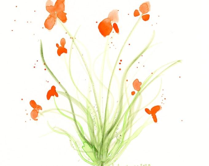 """Watercolor flowers, original painting of orange flowers, """"Brighter Days Ahead"""""""