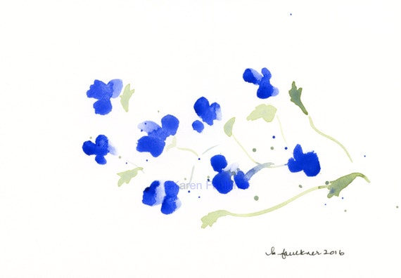 "Original watercolor painting of cobalt blue flowers: ""Lobelia"""