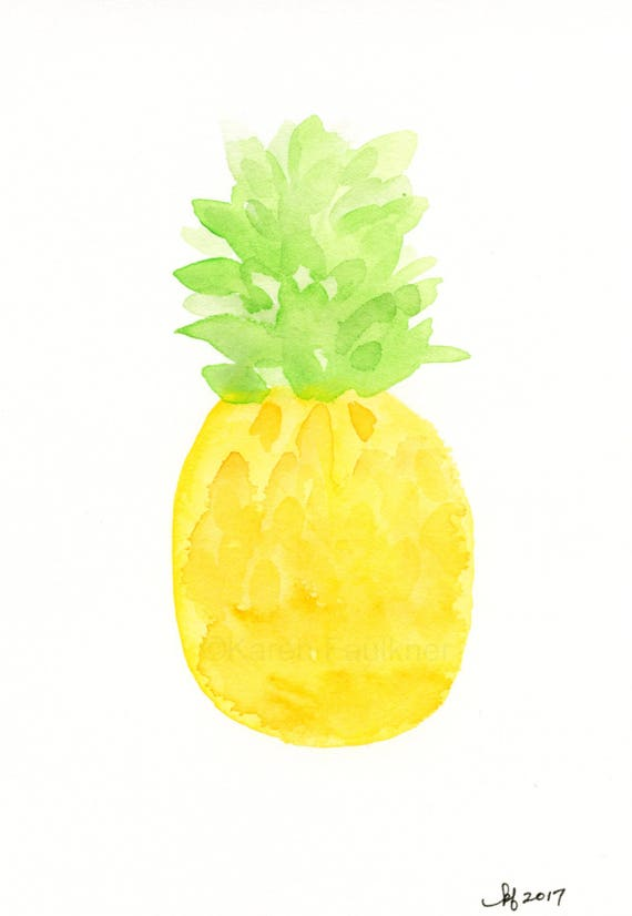 "Original watercolor painting: ""A Pineapple"""