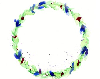 "Original watercolor wreath painting, ""Marine Blue Magic"""